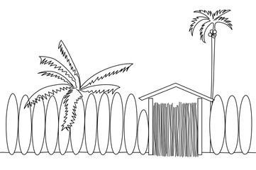 Single line illustration of a surf school with palm trees on the beach.