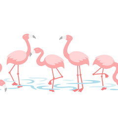 Flamingo walking in the pond - repeat pattern