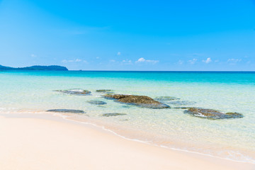tropical beach and sea with blue sky, vacation concept