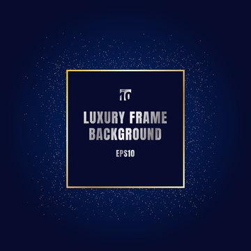 Luxury gold square frame with shiny golden glitter textured decoration design on dark blue background. Festive border