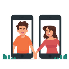 long distance relationship concept, man and woman holding hands in different phone - Vector