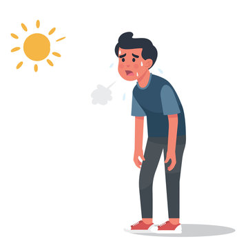 vector illustration man got sunburn in very hot summer days, man exhausted and sunburn - Vector