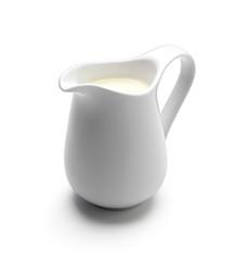 Milk or cream jug isolated on white background