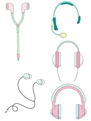 Illustrations cute headphones