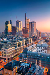 Frankfurt am Main, Germany. Aerial cityscape image of Frankfurt am Main skyline during beautiful sunrise.