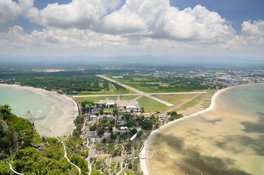 Aerial view of Wing 5 Royal Thai Air Force base, Ao Manao bay, Ao Manao beach and Prachuap bay in Prachuap Khiri Khan Province of Thailand