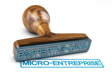 Création d'une micro entreprise. Tampon sur fond blanc.