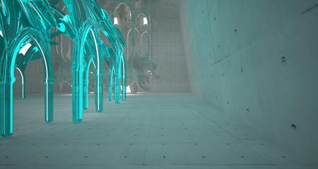 Abstract  concrete gothic interior with glass. 3D illustration and rendering.