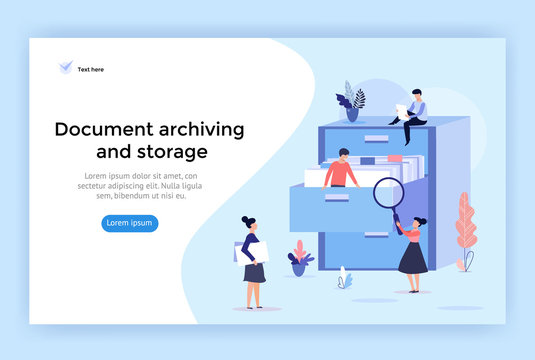 Document archiving and storage concept illustration, perfect for web design, banner, mobile app, landing page, vector flat design