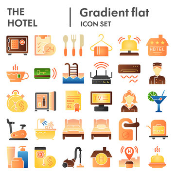 Hotel flat icon set, service symbols collection, vector sketches, logo illustrations, hostel signs color gradient pictograms package isolated on white background, eps 10.