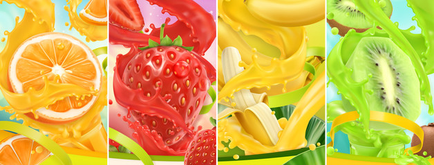 Juicy and fresh fruit. Orange, strawberry, banana, kiwi. Juice splash. 3d vector realistic set