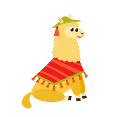 Vector illustration of cartoon funny alpaca isolated on white background.