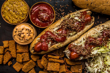 Hot dog cabbage seeds flax wooden fast food taste dish dinner lunch lunch