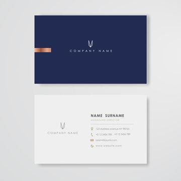 Blue business card flat design template vector