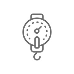 Fishing hook scales line icon.