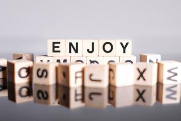 Enjoy word cube on reflection