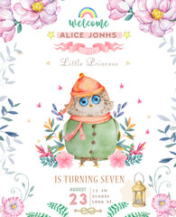 Watercolor cute Cartoon Owl. Cute baby greeting card. Boho flowers and floral bouquets Happy Birthday set. Watercolor greeting baby clip art on white background.