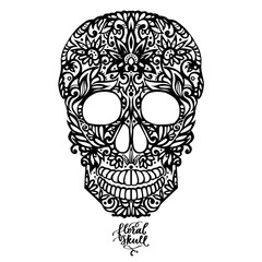 Hand drawn floral hand drawn patterned skull