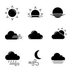 Weather forecast glyph icons set