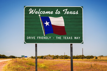 Stores à enrouleur Texas Welcome to Texas State Sign