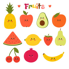 Cute hand drawn kawaii fruits. Healthy style collection. Flat style. Vegetarian food. Cartoon