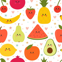 Cute seamless pattern with cartoon fruits. Creative healthy background. Kawaii. Modern stylish texture. Great for fabric, textile, wrapping