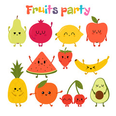 Party with dancing fruits. Cute hand drawn kawaii fruits. Healthy style collection. Flat style. Vegetarian food. Cartoon