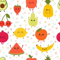 Seamless pattern wiyh dancing fruits. Cute hand drawn kawaii fruits. Healthy style collection. Flat style. Vegetarian food. Cartoon party