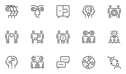 Synergy Vector Line Icons Set. Synergy Mind, Human Interaction, Exchange of Views, Team Collaboration, Business Cooperation. Editable Stroke. 48x48 Pixel Perfect.