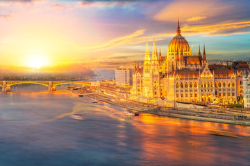 Wall Mural - Hungarian Parliament and the Danube river at sunset time, Budapest, Hungary