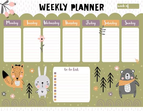 Kids weekly calendar planner with animals
