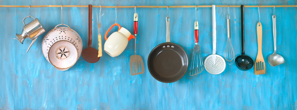 Kitchen utensils for commercial kitchen, restaurant,cooking, kitchen and food concept.