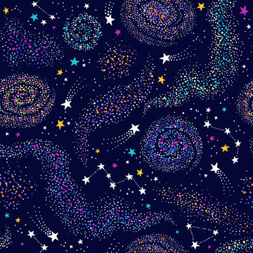 Galaxy seamless deep violet pattern with colorful nebula, constellations and stars