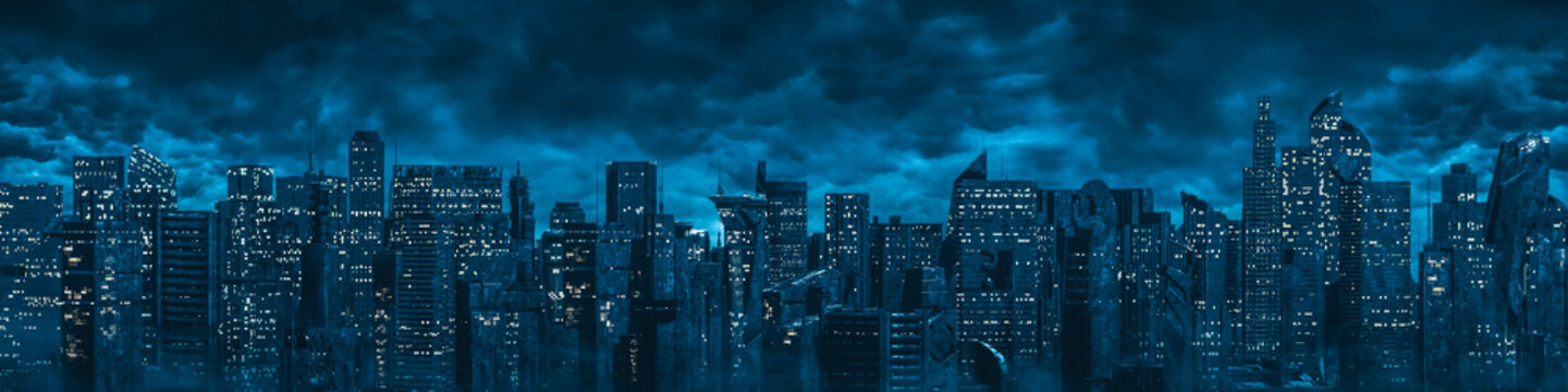 Science fiction city night panorama / 3D illustration of dark futuristic sci-fi city under dark cloudy night sky