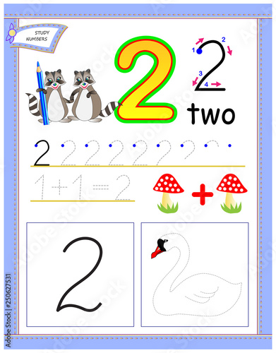 Educational Page For Kids With Number 2 Draw The Contour And Color