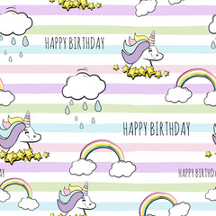 Garden Poster Retro sign seamless happy birthday unicorn pattern