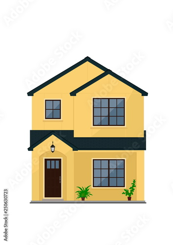 Two Storey Suburban Or City House With Walls Of Yellow Color And