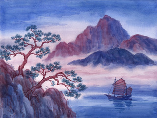 Watercolor painting, landscape with mountains and sailing boat on water.