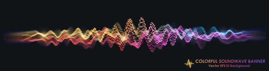 Fotoväggar - Colorful Sound Wave on Black Background