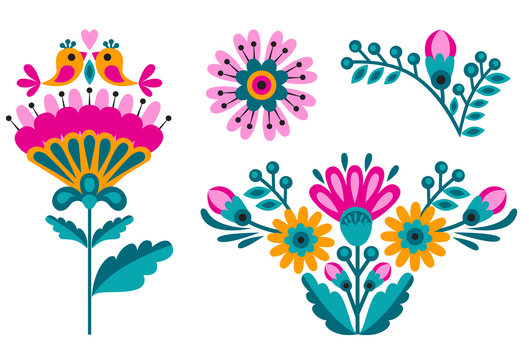 flower ethnic decoration. Fashion mexican, navajo or aztec, native american ornament.  Colored vector design element for frame and border, textile, fabric or paper print. Vector illustration