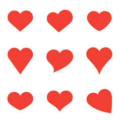 Red Heart Shapes on White Background