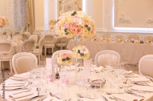 Elegant Wedding Reception Table Arrangement Floral Centerpiece