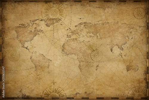 Wall mural Vintage old world map illustration based on image furnished by NASA