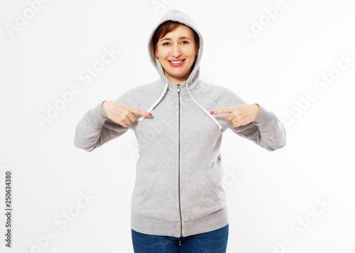 b80e0ab8f48 beautiful women Gray pullover hoodie mockup, Woman pointed on gray hoodie,  template for your own design, girl wearing blank grey hoodie on white  background