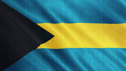 Bahama flag is waving 3D illustration. Symbol of Bahamian national on fabric cloth 3D rendering in full perspective.