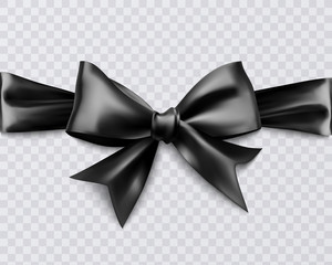 Realistic black bow on transparent background, vector illustration for your design