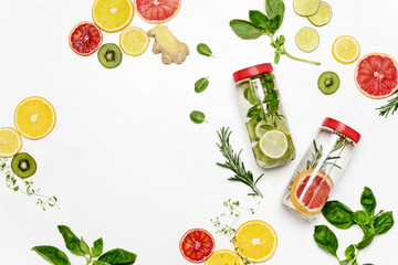 Infused waters with various ingredients background