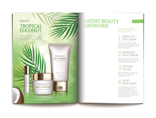 Vector template for glossy cosmetic magazine. Magazine or catalog spread, page with natural cosmetics made from tropical coconut next to palm leaves and blank page for new skin care complex