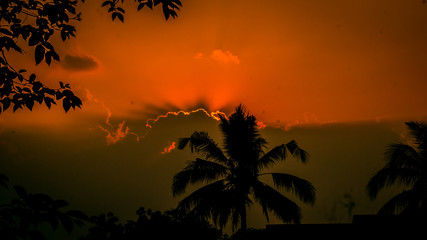 Canvas Prints Cuban Red sunset in the clouds