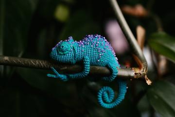 crochet blue chameleon